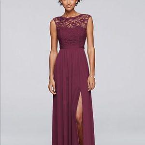 David's Bridal Bridesmaid dress F19328 size 6 Wine